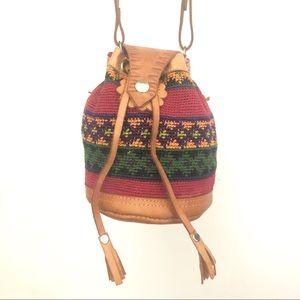 Vtg leather and woven thread boho bag